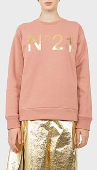 Розовый свитшот N21 с золотистым лого, фото