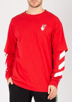 Красный свитшот Off-White с принтом, фото