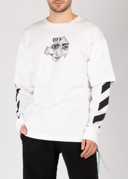 Белый свитшот Off-White с двойными рукавами, фото