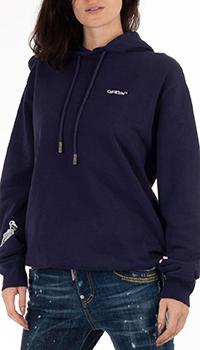 Худи Off-White синего цвета с принтом на спине, фото