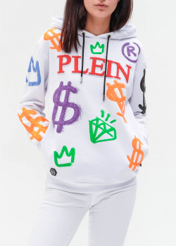 Белое худи Philipp Plein с принтом в стиле граффити, фото