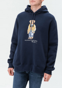 Темно-синее худи Polo Ralph Lauren с принтом медведя, фото