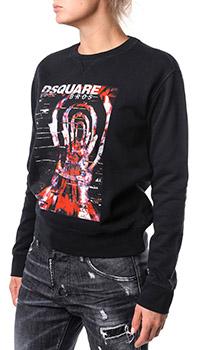 Черный свитшот Dsquared2 с объемным принтом, фото