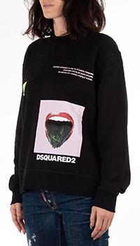 Черный свитшот Dsquared2 с принтом, фото