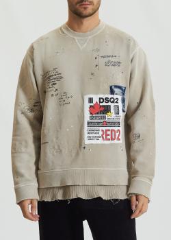 Свитшот Dsquared2 с брендовой нашивкой, фото