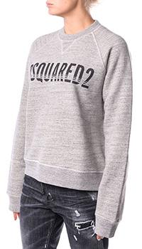 Хлопковый свитшот Dsquared2 серого цвета, фото