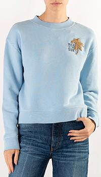 Голубой свитшот Sandro с вышивкой, фото