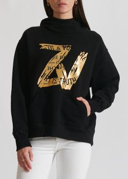 Черное худи Zadig & Voltaire с золотистым лого, фото
