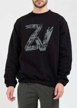 Черный свитшот Zadig & Voltaire с эластичными манжетами, фото