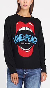 Черный свитшот Love Moschino с аппликацией в виде губ, фото
