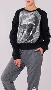 Черный свитшот Philipp Plein с форменным серебристым принтом, фото