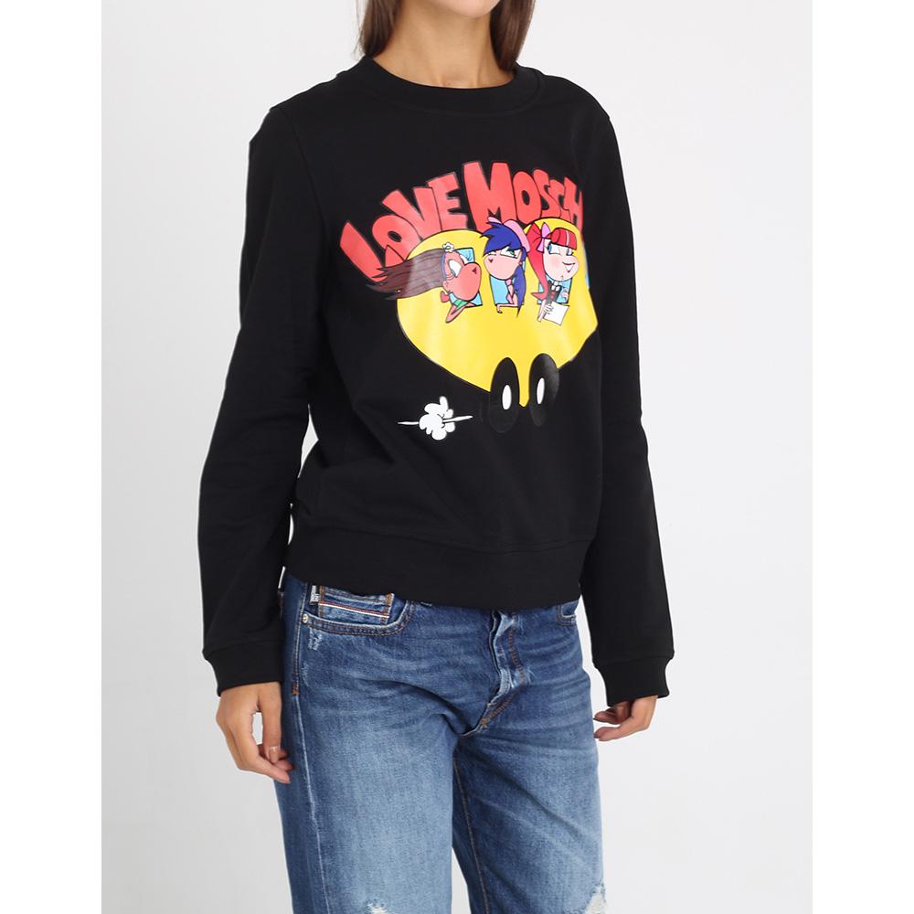 Черный свитшот Love Moschino с брендовой аппликацией