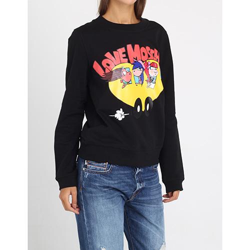 Черный свитшот Love Moschino с брендовой аппликацией, фото