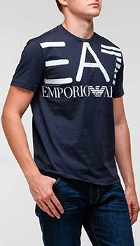 Синяя футболка Ea7 Emporio Armani с объемным принтом, фото