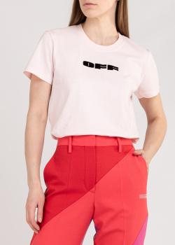 Светло-розовая футболка Off-White из хлопка, фото