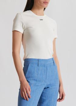Белая футболка Off-White в рубчик, фото