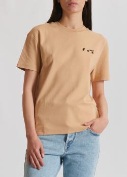 Однотонная футболка Off-White бежевого цвета, фото
