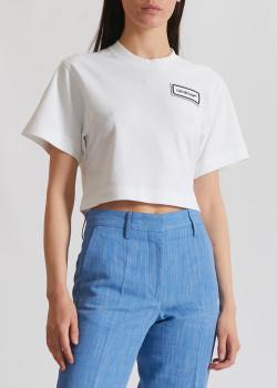 Укороченная футболка Off-White с фирменной нашивкой, фото