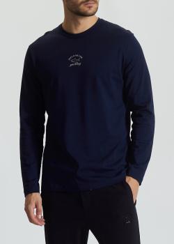 Синий лонгслив Paul&Shark с фирменным принтом, фото