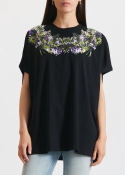 Черная футболка Givenchy с растительным принтом, фото