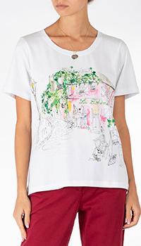 Белая футболка Weill с рисунком города, фото