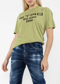 Зеленая футболка Etro с фирменным принтом, фото