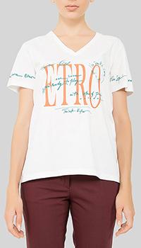 Белая футболка Etro прямого кроя, фото