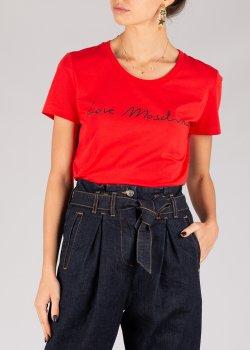 Красная футболка Love Moschino с надписью, фото