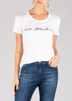 Футболка Love Moschino белого цвета с надписью, фото