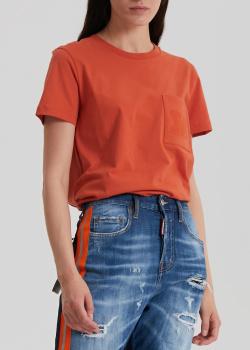 Однотонная футболка Max Mara Diego терракотового цвета, фото