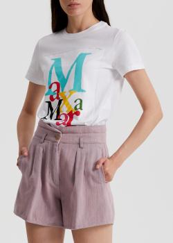Белая футболка Max Mara Humour с цветным принтом-надписью, фото