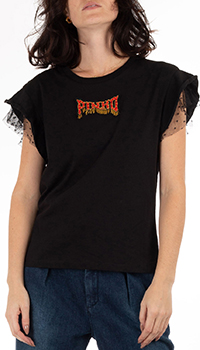 Черная футболка Pinko с принтом на спине, фото