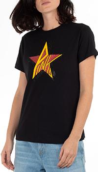 Черная футболка Pinko с изображением звезды, фото