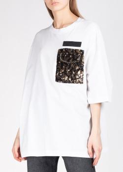Белая футболка N21 с пайетками на кармане, фото