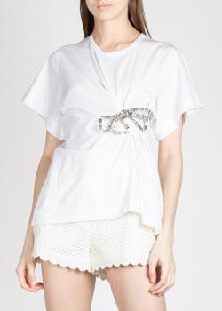 Белая футболка N21 с бантом из камней, фото