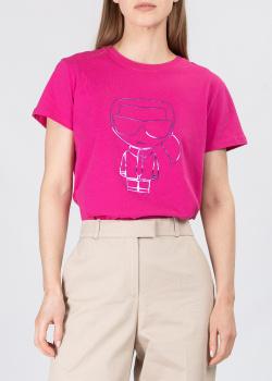 Хлопковая футболка Karl Lagerfeld Ikonik Karl цвета фуксии, фото