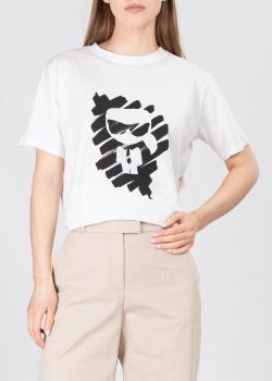 Хлопковая футболка Karl Lagerfeld Ikonik Karl белого цвета, фото