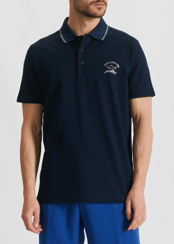 Темно-синее поло Paul&Shark с логотипом, фото