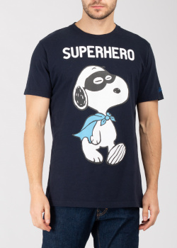 Темно-синяя футболка Saint Barth с собакой, фото