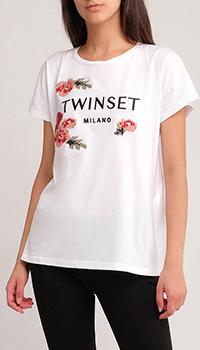 Хлопковая футболка Twin-Set с цветочной вышивкой, фото