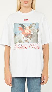 Хлопковая футболка MSGM белого цвета с принтом, фото