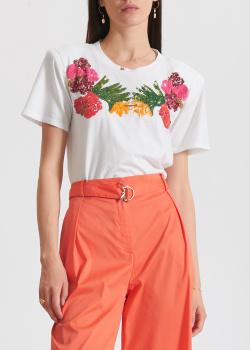 Белая футболка Patrizia Pepe с цветами из пайеток, фото