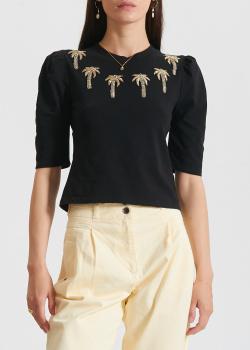 Черная футболка Patrizia Pepe с золотистыми пальмами, фото