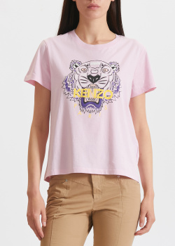 Розовая футболка Kenzo с рисунком тигра, фото