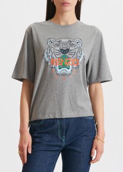 Серая футболка Kenzo с фирменным принтом, фото