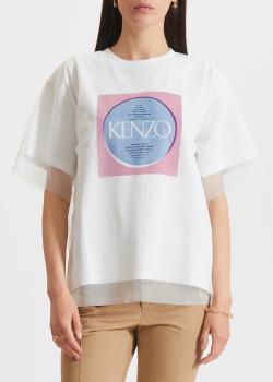 Футболка с лого Kenzo с сетчатой вставкой, фото