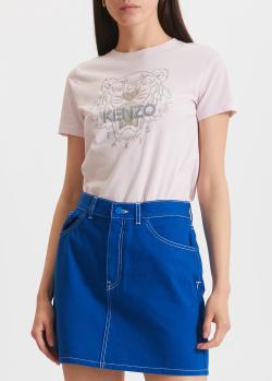 Хлопковая футболка Kenzo светло-розового цвета, фото
