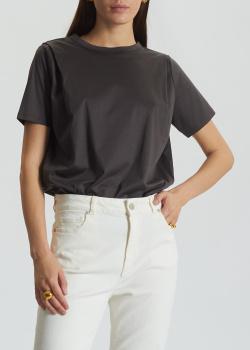 Хлопковая футболка Luisa Cerano с плиссировкой на плечах, фото