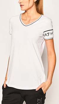 Белая футболка Ea7 Emporio Armani с логотипом, фото
