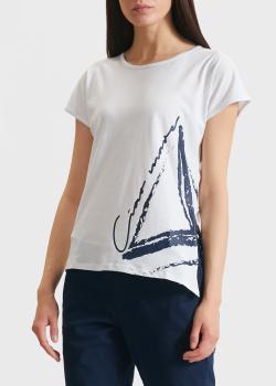 Белая футболка EA7 Emporio Armani с принтом, фото